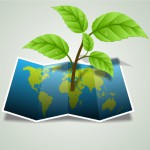 Abbildung Weltkarte Afrika mit Pflanzenspross